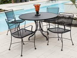 Metal Outdoor Dining Chairs Furniture Black Wrought Iron Outdoor Round Table With Chair Using