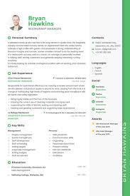 Resume Template Restaurant Manager Bryan Hawkins Restaurant Manager Resume Template 64864