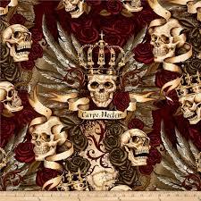 skullduggery royal vintage skulls roses alexander henry cotton