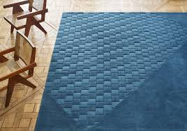 Blue Contemporary Rugs Contemporary Rug Patterned Wool Jute Variamen Alabran