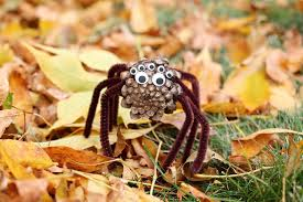 pinecone spiders a halloween nature craft for kids