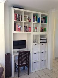 Built In Desk by Remodelaholic Build A Wall To Wall Built In Desk And Bookcase In