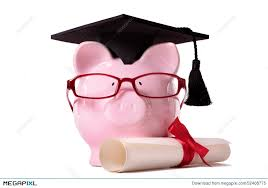graduate piggy bank student graduation college diploma isolated