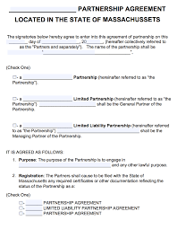 free massachusetts partnership agreement template pdf word