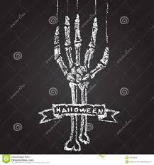 skeleton hand with chalk on a blackboard and a stock vector