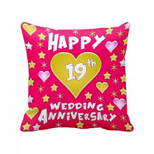 19th wedding anniversary gift 19th wedding anniversary gift printed cushion with filler