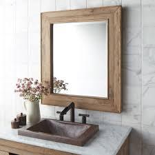 Bathroom Square Sink Rectangle Mirror Bathroom Cabinets Chardonnay Reclaimed Wood Mirror Wooden Framed
