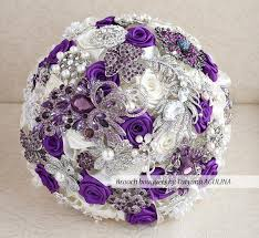 purple and silver wedding brooch bouquet purple ivory and silver wedding brooch bouquet