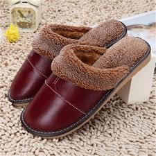 mens leather bedroom slippers waterproof winter warm home slippers men women couple genuine cow
