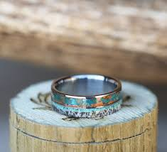 copper engagement ring the element patina copper antler turquoise wedding band