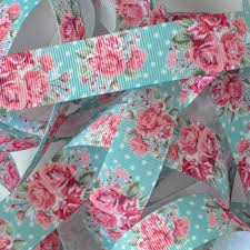 printed grosgrain ribbon 8 navajo turquoise with pink roses printed grosgrain ribbon by