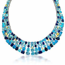 necklace with topaz images Aquamarine blue topaz sapphire color cz multi cut fancy necklace jpg