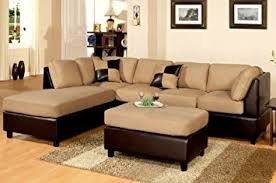 Suede Sectional Sofas Poundex New Two Tone Leatherette And Micro Suede