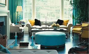 living room small space with turquoise wall apinted and brown faux