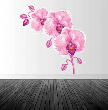 1infinitegraphics pink orchid decal orchid wall sticker floral wall decor vinyl wall decal