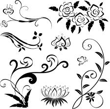 black floral ornaments illustration vector 04 vector floral free