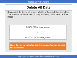 Delete All Rows From Table Structured Query Language In Database