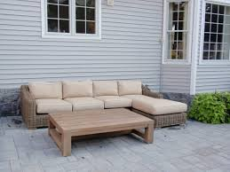 coffee table furniture l shaped grey rattan outdoor couch having