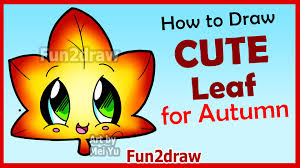 how to draw cute autumn maple leaf easy step by step drawings