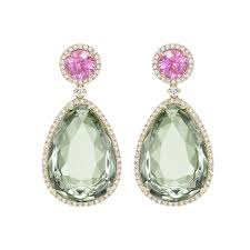 green amethyst earrings mcdonough pink tourmaline and green amethyst earrings kate