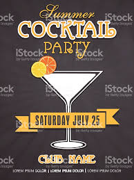 invitation card design for summer cocktail party stock vector art