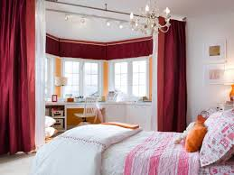 Decorate Bedroom Bay Window Girls Bedroom Decor Ideas With Maroon Red Silk Curtain Room