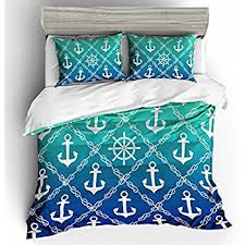 Teal Duvet Cover Amazon Com Full Queen Nautical Anchor Reversible Duvet Cover Set