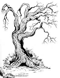 old gnarly tree ink brush sketch cartoon