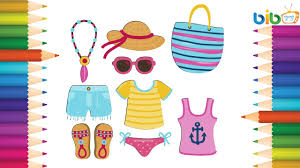draw summer clothes kids coloring pages girls