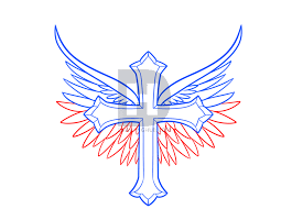 how to draw a cross with wings by drawing guide by