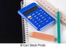 calculatrice graphique bureau en gros crayon cahier gomme calculatrice crayon fond photo de