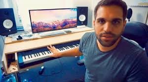 Producer Studio Desk by Diy Recording Studio Desk With Movable Keyboard Cover Youtube