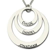 cheap personalized jewelry engraved three disc necklace handmade disc necklace with kids name