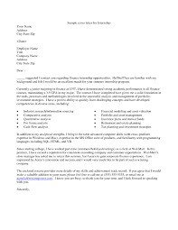 awesome collection of sample cover letter for summer internship in