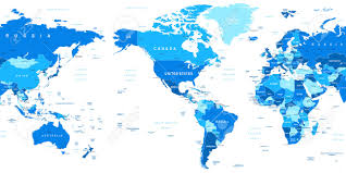 World Map Australia by World Map America In Center Highly Detailed Vector Illustration