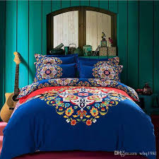 King Size Brushed Cotton Duvet Covers 2016 Blue Bohemian Bedding Set Queen King Size Boho Style Duvet