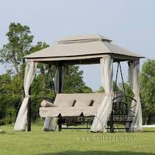 Patio Chair Swing Outdoor 3 Person Patio Daybed Canopy Gazebo Swing Tan W Mesh