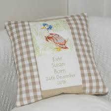 beatrix potter birth and christening cushion by tuppenny house beatrix potter birth and christening cushion