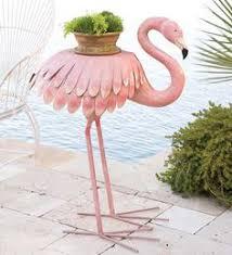metal pink flamingo lawn ornament garden by bytheseashoredecor
