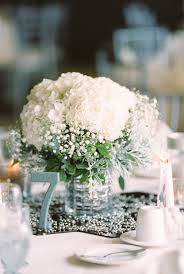 White Roses Centerpieces by Babys Breath And White Hydrangea Centerpiece White Hydrangea