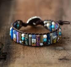 wrap cuff bracelet images Women boho bracelet tube shape natural stone single leather wrap jpg