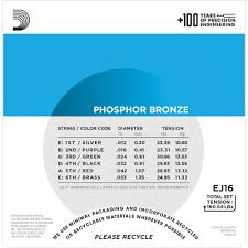 d addario ej16 phosphor bronze light acoustic guitar strings d addario ej16 phosphor bronze acoustic guitar strings light 12 53