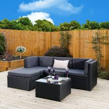 Outdoor Rattan Corner Sofa Milano Rattan 5 Piece Corner Sofa In Brown Or Black Abreo Home