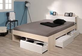 chambre acacia lit tiroirs acacia et blanc mégève