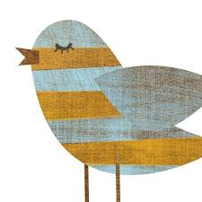 Nursery Bird Decor Yellow Blue Stripe Bird Collage Print 5 X 7 Feminine Baby