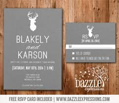 modern white and gray deer wedding invitation rsvp card included