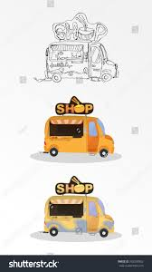 cartoon car back cartoon concept sell noodles on back stock vector 762530953