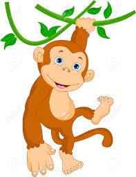 cute monkey hanging cartoon royalty free cliparts vectors and