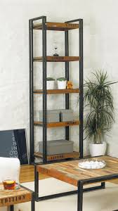 tall narrow oak bookcase rustic black polished metal based bookcase using brown stained