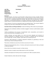 Invoice Controller Job Description by Bookkeeper Duties And Responsibilities Resumebookkeeper Resume